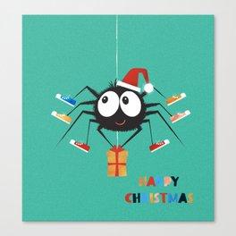 Happy Christmas Santa Spider Canvas Print