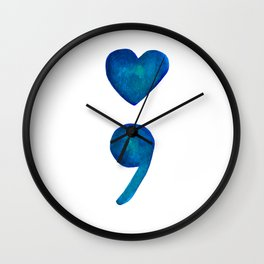 Blue Watercolor Heart Semicolon Wall Clock