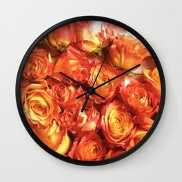 Cluster Of Orange Roses Wall Clock