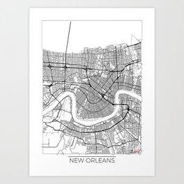 New Orleans Map White Art Print