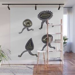 running surreal eyes mouth and nose creatures Wall Mural