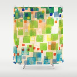 Squares crossing the Red Line Shower Curtain