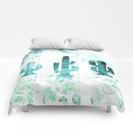 Blue Whimsical Cactus Comforters