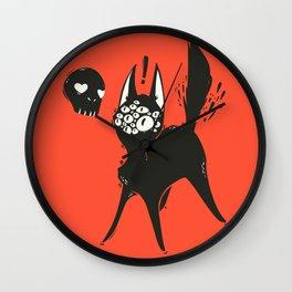 Creepy Cute Many Eyed Cat, Grunge Goth Artwork Wall Clock