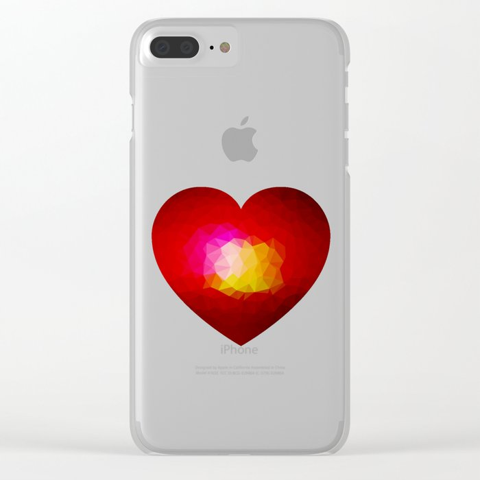 Red geometric burning heart Clear iPhone Case