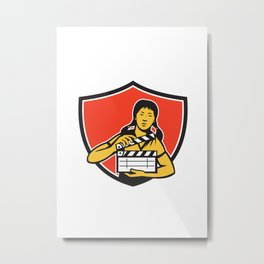 Asian Woman Movie Clapper Shield Retro Metal Print