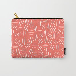 Three Little Lines - White & Living Coral Pink - Pattern Carry-All Pouch