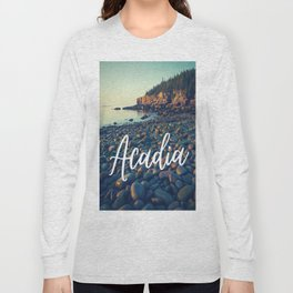 Acadia Boulder Beach Sunrise Print Long Sleeve T-shirt