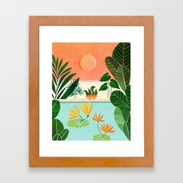 Shangri La Sunset / Exotic Landscape Illustration Framed Art Print