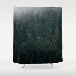 Mystic Pines - A Forest in the Fog Shower Curtain