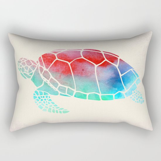 Watercolor Turtle Rectangular Pillow