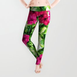 green banana palm leaves and pink flowers Leggings