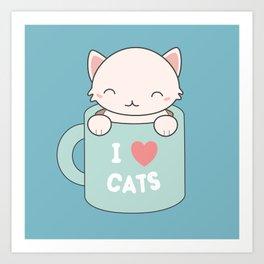 Kawaii Cute I Love Cats Art Print
