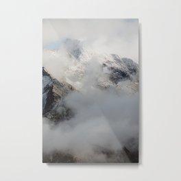 Austrian Alp Peaks in Snow and Clouds Metal Print