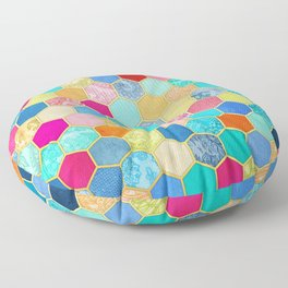 Patterned Honeycomb Patchwork in Jewel Colors Floor Pillow