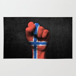 Norwegian Flag on a Raised Clenched Fist Rug