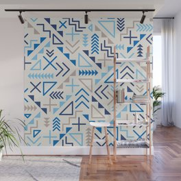 Jumble Geometric Line Shapes Blue Hipster Pattern on Grey Abstract Background Design Wall Mural
