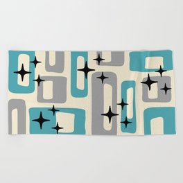 Retro Mid Century Modern Abstract Pattern 223 Blue and Gray Beach Towel