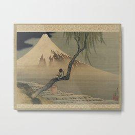 Boy Viewing Mount Fuji by Katsushika Hokusai Metal Print