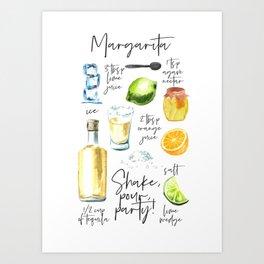Margarita Recipe Watercolor Illustration Art Print