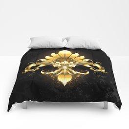 Golden Fleur de Lis Comforters