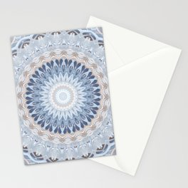 Serenity Mandala in Blue, Ivory and White on Textured Background Stationery Cards
