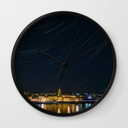 Star Trails over City Wall Clock