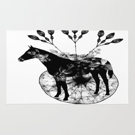 Black and white horse and the flowers Rug