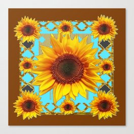Western Sunflowers Turquoise-Coffee Brown Art Canvas Print