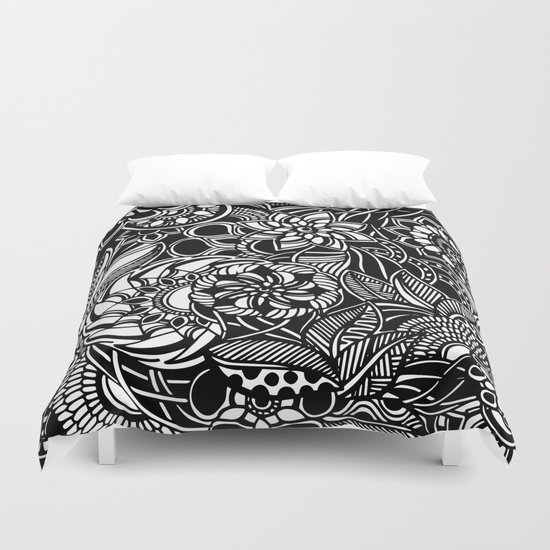 Blooms II Black and White Doodle Art Duvet Cover