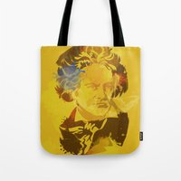 beethoven Tote Bags featuring Beethoven by BIG Colours