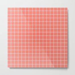 Salmon - pnk color - White Lines Grid Pattern Metal Print