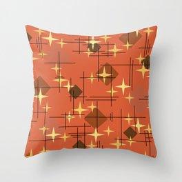 MidCentury Modern Pattern Burnt Orange Throw Pillow