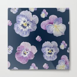 Watercolor Pansy Pattern (Navy Background) Metal Print