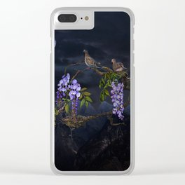 Doves In Moonlight Clear iPhone Case