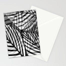 Layered Artistic Black White And Grey Leaf Vein Abstract Stationery Cards