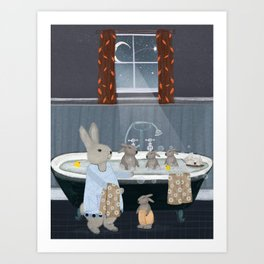 bunny bath time Art Print