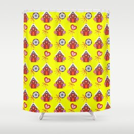 gingerbread houses, colorful sweet lollipops. Retro vintage cozy snug homey Christmas pattern Shower Curtain