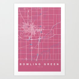 BOWLING GREEN map - OHIO - US |  Pink Art Print
