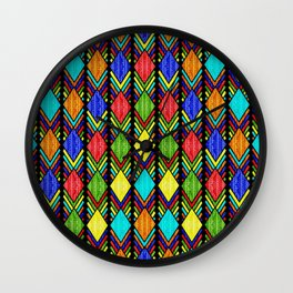 African Beaded Diamonds, Black Wall Clock