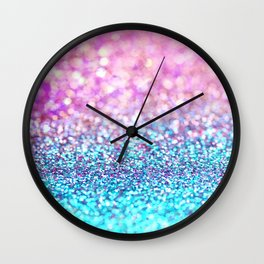 Pastel sparkle- photograph of pink and turquoise glitter Wall Clock