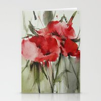 poppy Stationery Cards featuring poppy# by beautifyprints