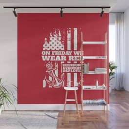On Fridays We Wear Red Navy Family Wall Mural