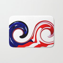 American Wave features two waves with an American Flag background. Old Glory from Fort McHenry Bath Mat