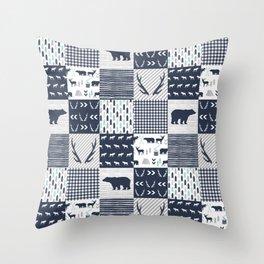 Camper antlers bears pattern minimal nursery basic navy mint grey white camping cabin chalet decor Throw Pillow