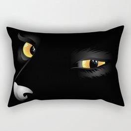 Yellow cat eyes in the dark Rectangular Pillow