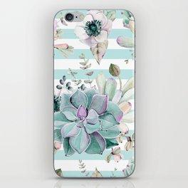Succulent Garden Striped Succulent Blue iPhone Skin