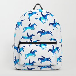 Watercolor Showjumping Horses (Blue) Backpack