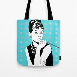 Audrey Hepburn as Holly Golightly with diamond background Tote Bag