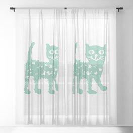 Mint cat drawing, cat drawing Sheer Curtain